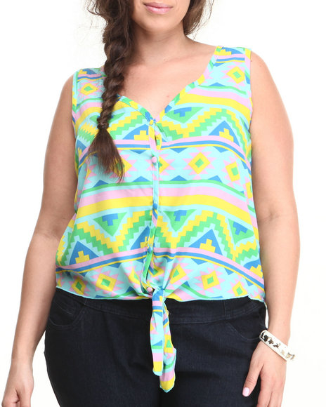 Ali & Kris - Women Multi Aztec Print Tie Front Top (Plus) - $12.99