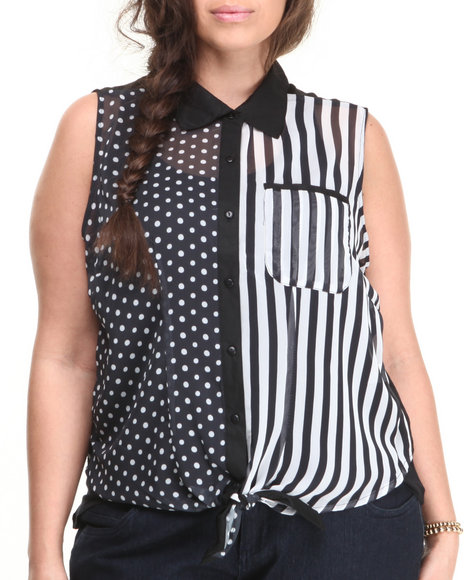 ALI & KRIS Black Dot Stripe Tie Front Sleeveless Top (Plus Size)