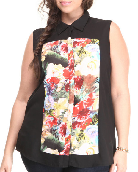 ALI & KRIS Black Floral Screen Print Sleeveless Top (Plus Size)
