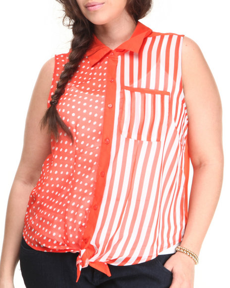 ALI & KRIS Orange,White Dot Stripe Tie Front Sleeveless Top (Plus Size)