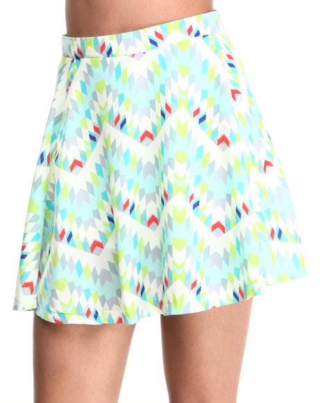 Ali & Kris - Women Teal Aztec Print Skater Skirt - $6.99