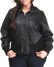 Outerwear - Lightweight Vegan Leather Bomber Jacket (plus)