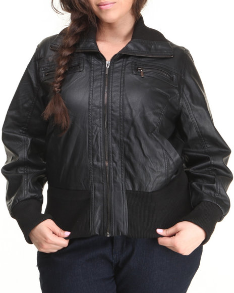 Basic Essentials - Women Black Lightweight Vegan Leather Bomber Jacket (Plus)