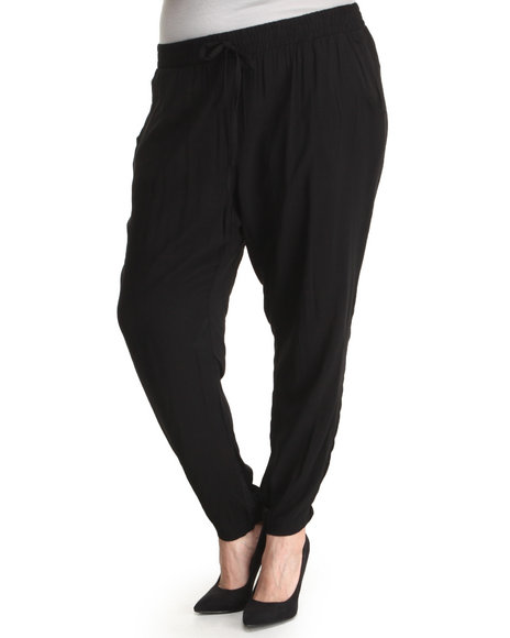 ALI & KRIS Black Drawstring Waist Soft Pant (Plus Size)