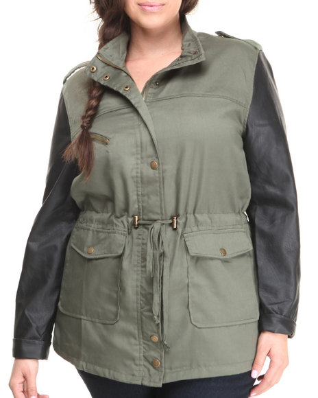 Basic Essentials - Women Olive Inspector Deck Lightweight Mix Fabrication Jacket (Plus)