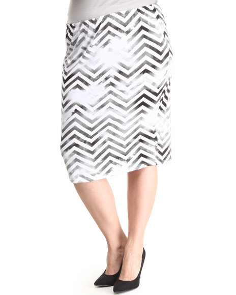 Baby Phat - Women Black,White Printed Chevron Skirt