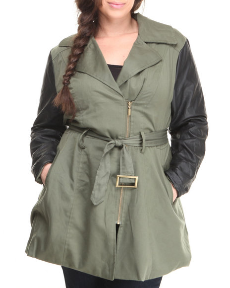 Basic Essentials - Women Olive Maria Light Weight Big Ben Jacket W/Vegan Leather Sleeves (Plus)