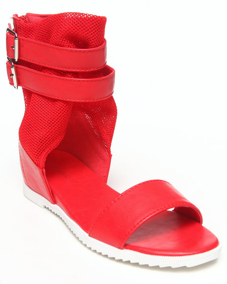 Fashion Lab - Women Red Bailey Toe Strap Sandal W/ Ankle Buckles