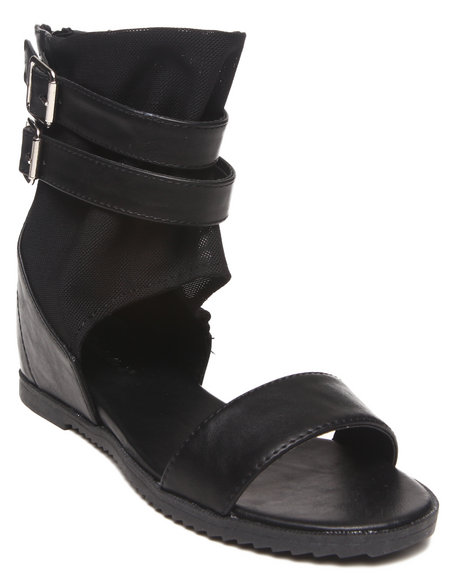 Fashion Lab - Women Black Bailey Toe Strap Sandal W/ Ankle Buckles - $15.99