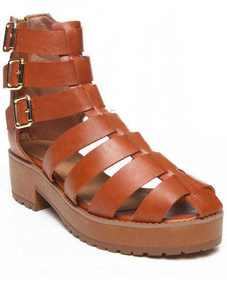 Fashion Lab - Women Tan Teela Gladiator Closed Toe Ankle Sandal