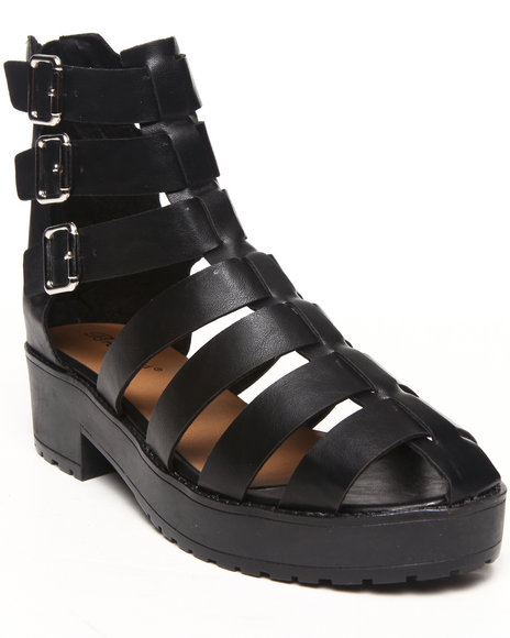 Fashion Lab - Women Black Teela Gladiator Closed Toe Ankle Sandal