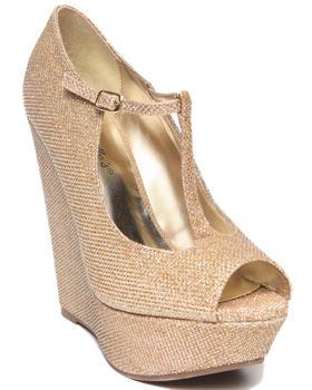 Fashion Lab - Cece Glitter Peep Toe Maryjane Platform Wedge