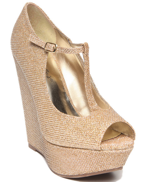 Fashion Lab - Women Beige Cece Glitter Peep Toe Maryjane Platform Wedge - $18.99