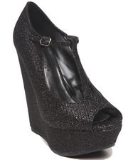 Fashion Lab - Cece Glitter Peep Toe Maryjane Platform Wedge