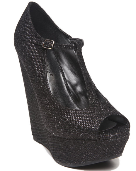 Fashion Lab - Women Black Cece Glitter Peep Toe Maryjane Platform Wedge