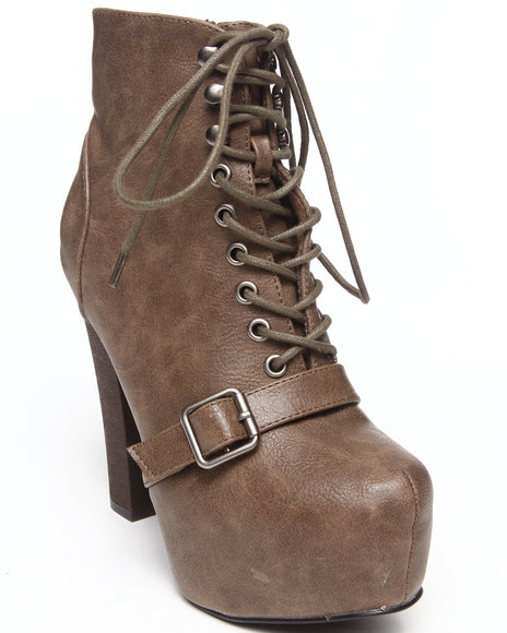 Fashion Lab - Women Brown Jenna Lace Up Platform Bootie W/ Buckle Strap