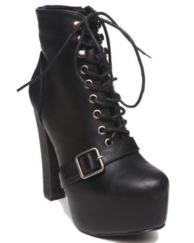 Fashion Lab - Jenna Lace Up Platform Bootie w/ Buckle Strap