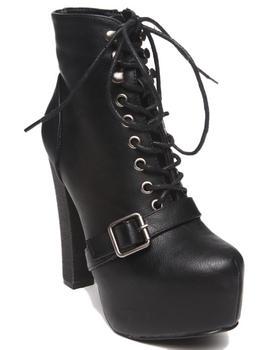 Fashion Lab - Jenna Lace Up Platform Bootie w/ Buckle Strap