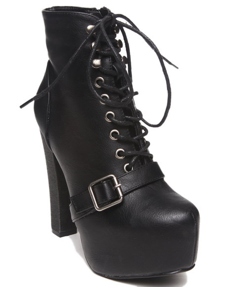Fashion Lab - Women Black Jenna Lace Up Platform Bootie W/ Buckle Strap