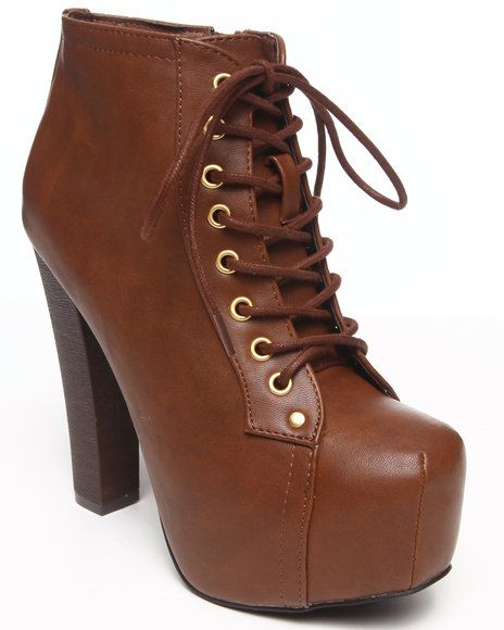 Fashion Lab - Women Tan Kacie Faux Leather Lace Up Platform Bootie