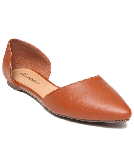 Fashion Lab - Women Tan Ashley Faux Leather Pointy Toe Open Foot Flat