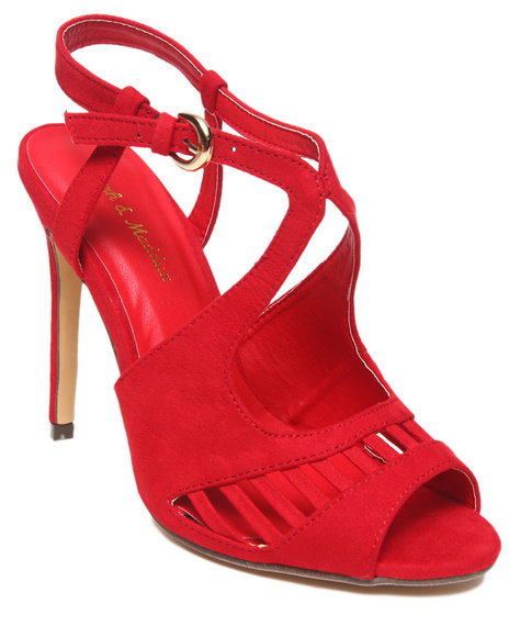 Fashion Lab - Women Red Rachel Faux Suede Strappy Peep Toe Pump