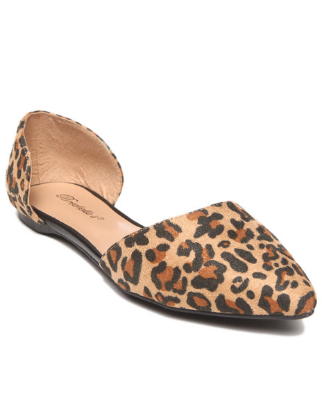 Fashion Lab - Women Animal Print Denise Pointy Toe Open Foot Flat
