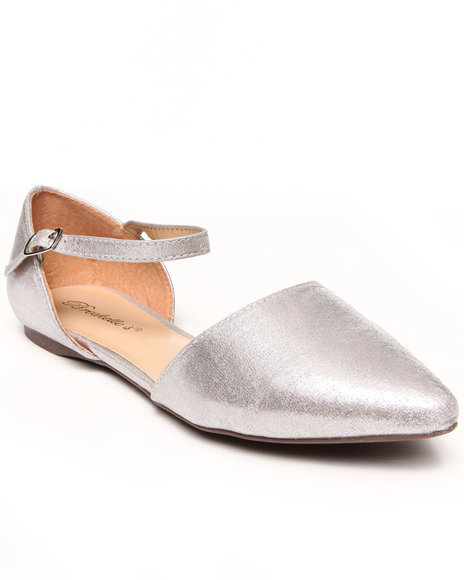 Fashion Lab - Women Silver Deena Patent Leather Pointy Toe Single Strap Flat