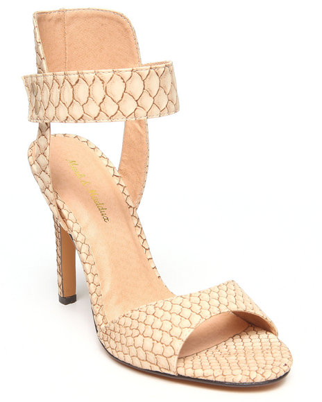 Fashion Lab - Women Beige Sonia Faux Snakeskin Peep Toe Ankle Strap Pump - $17.99