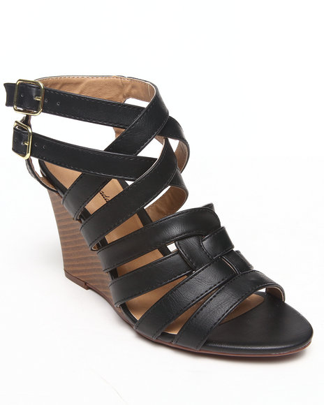 Fashion Lab - Women Black Hayley Strappy Sandal Wedge