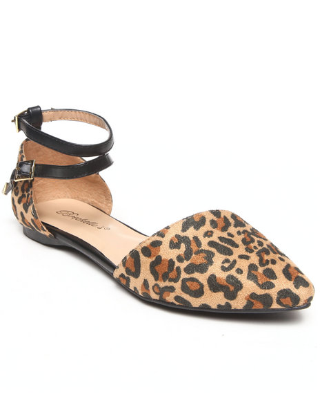 Fashion Lab - Women Animal Print Diane Pointy Toe Double Strap Flat