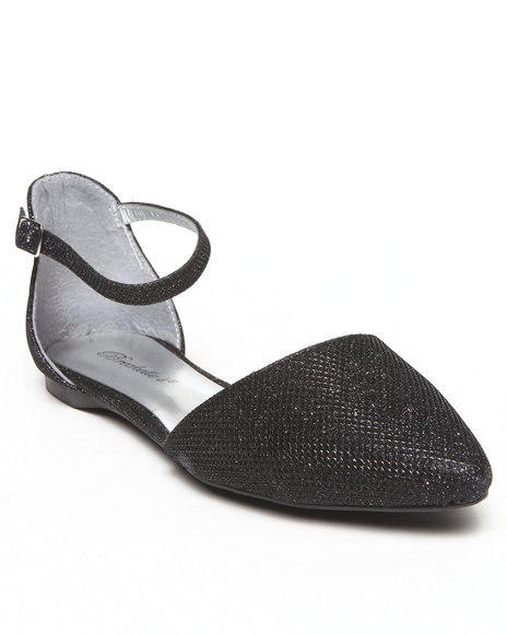 Fashion Lab - Women Black Debra Pointy Toe Single Strap Sparkle Flat