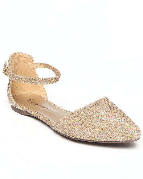 Fashion Lab - Women Beige Debra Pointy Toe Single Strap Sparkle Flat - $13.99