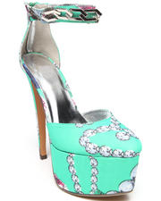 Fashion Lab - Lindsay Jewel Print Platform Pump w/ Chain Ankle Strap