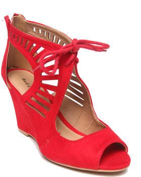 Fashion Lab - Alicia Cutout Peep Toe Wedge w/ Tie