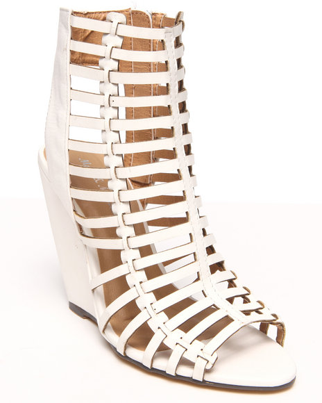 Fashion Lab - Women White Casey Gladiator Peep Toe Wedge