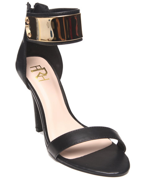 Fashion Lab - Women Black Mercedes Single Strap Pump W/ Ankle Strap Metal Detail
