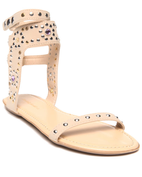 Fashion Lab - Women Beige,White Melissa Single Strap Embellished Flat Sandal