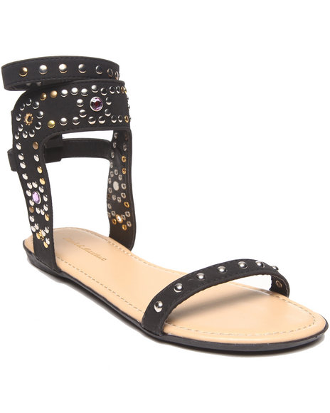 Fashion Lab - Women Black Melissa Single Strap Embellished Flat Sandal