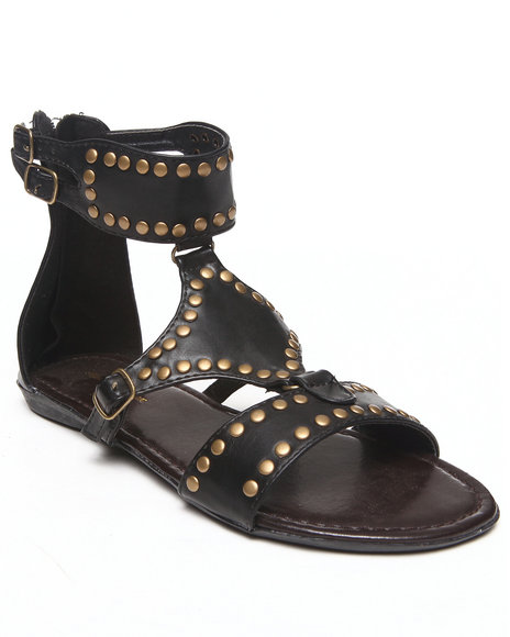 Fashion Lab - Women Black Britney Embellished Ankle Buckle Flat Sandal
