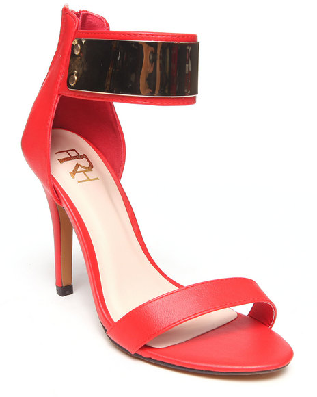 Fashion Lab - Women Red Mercedes Single Strap Pump W/ Ankle Strap Metal Detail