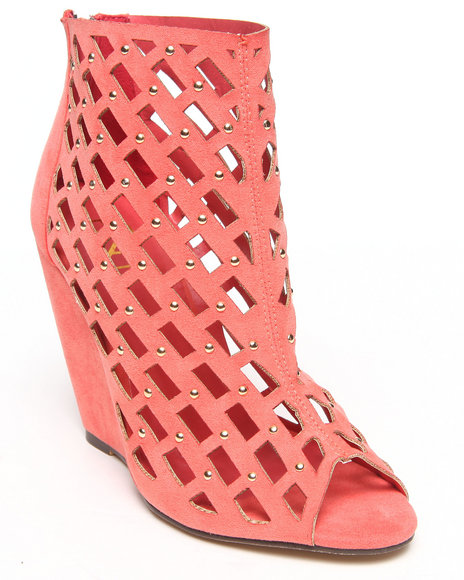 Fashion Lab - Women Pink Judy Cutout Peep Toe Wedge Bootie W/ Silver Metal Detail