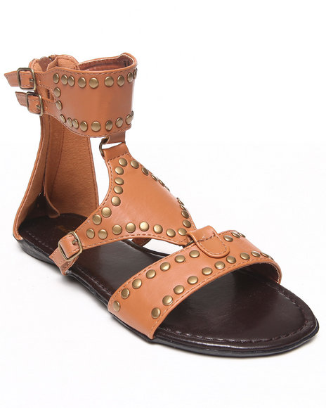 Fashion Lab - Women Brown Britney Embellished Ankle Buckle Flat Sandal