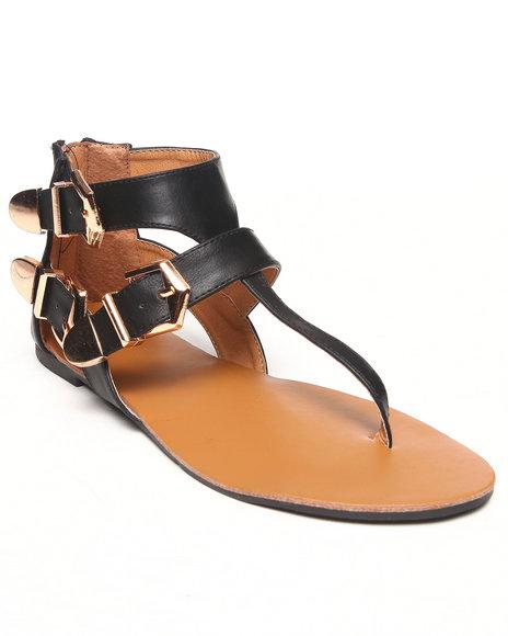 Fashion Lab - Women Black Erin Three Buckle Strappy Flat Sandal