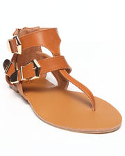 Footwear - Erin Three Buckle Strappy Flat Sandle