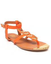 Footwear - Falon Strappy Ankle Flat Sandle w/ Gold Detail
