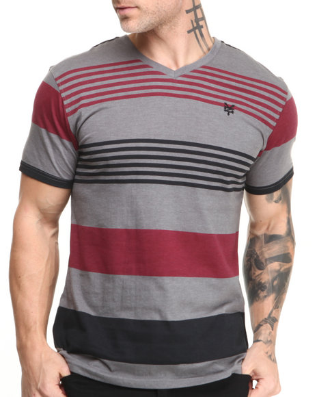 Zoo York - Men Red Regatta Stripe V-Neck Tee