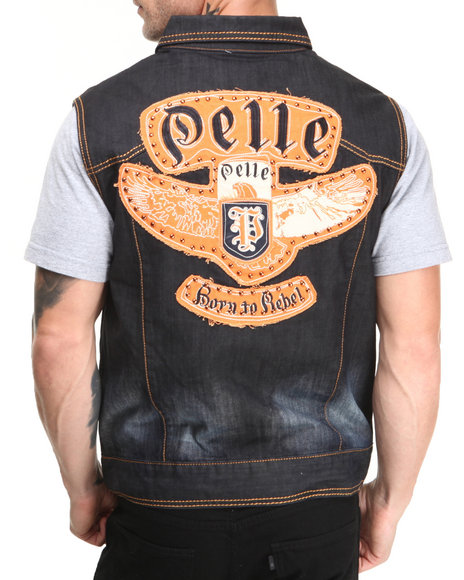 Pelle Pelle - Men Light Indigo Rebel Denim Vest - $59.99