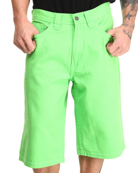 Pelle Pelle - Men Lime Green Flap Pocket Shorts - $32.99