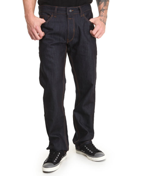 Rocawear - Men Indigo Flame Stitch Core Straight Fit Jeans